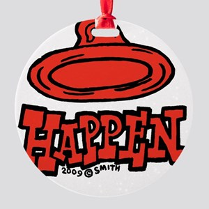 condom_happen_left_red_clock Round Ornament