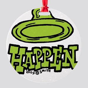 condom_happen_left_green_clock Round Ornament