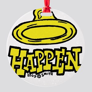 condom_happen_left_yellow_clock Round Ornament