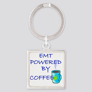 POWERED BY COFFEE EMT1 Square Keychain