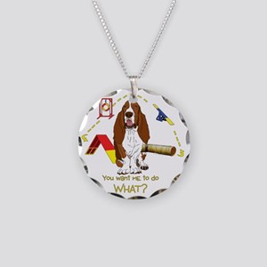 BassetDOWHATdark Necklace Circle Charm