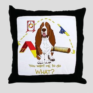 BassetDOWHATdark Throw Pillow