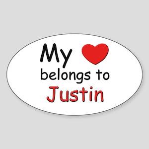 My heart belongs to justin Oval Sticker