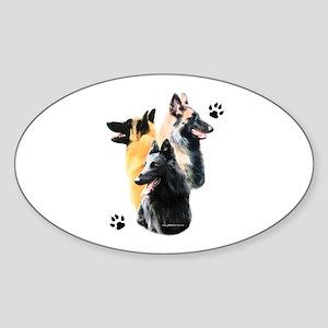Belgian Trio Oval Sticker