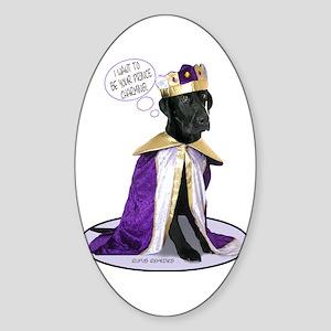 Black Labrador Prince Oval Sticker