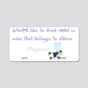 Diogenes Wine Quote Aluminum License Plate