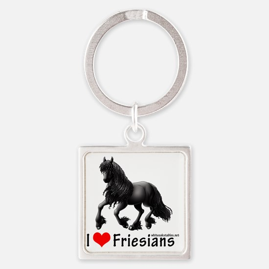 2-i heart friesians Square Keychain