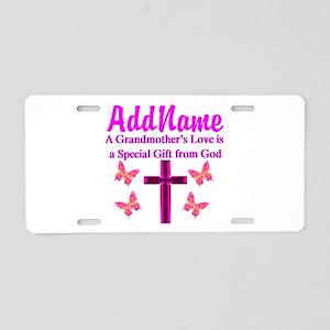 DIVINE GRANDMA Aluminum License Plate
