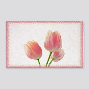 Pale Pink Tulips 3'X5' Area Rug