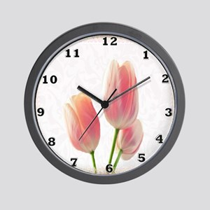 Pale Pink Tulips Wall Clock