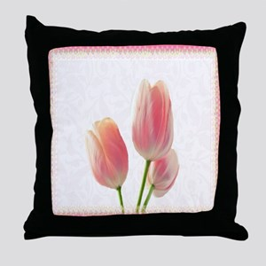 Pale Pink Tulips Throw Pillow