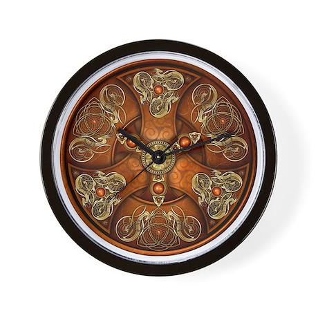 Norse Chieftain's Shield - Copper & Gol Wall Clock