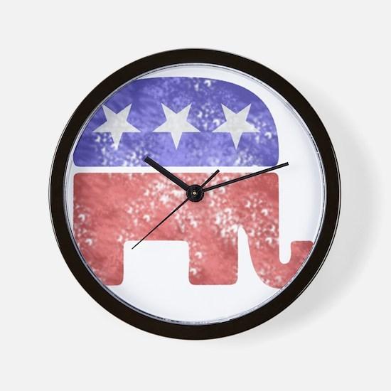 2-RepublicanLogoTexturedGreyBackgroundF Wall Clock