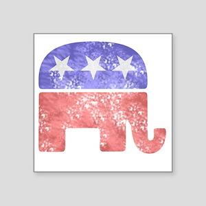 "2-RepublicanLogoTexturedGre Square Sticker 3"" x 3"""