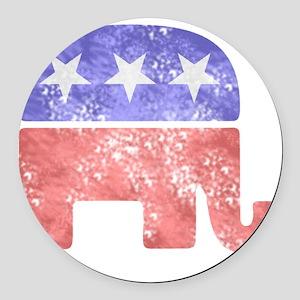 2-RepublicanLogoTexturedGreyBackg Round Car Magnet