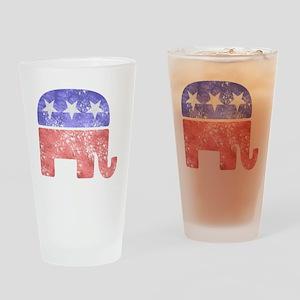 2-RepublicanLogoTexturedGreyBackgro Drinking Glass