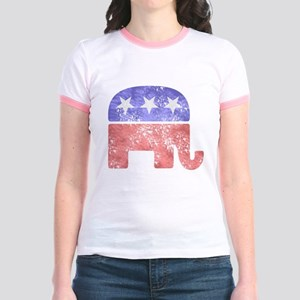 e251a4ae112d22 Republican Elephant Junior Ringer Tees - CafePress