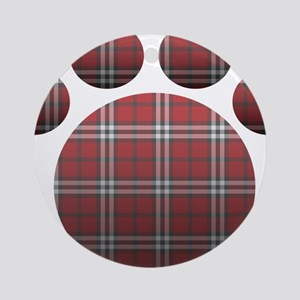 Plaid Paw Round Ornament