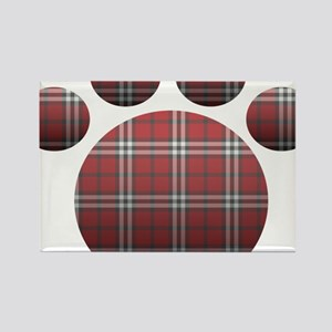 Plaid Paw Rectangle Magnet