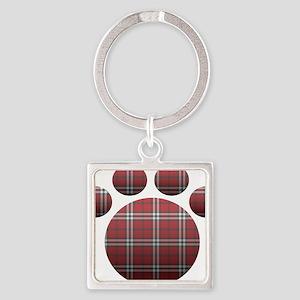 Plaid Paw Square Keychain