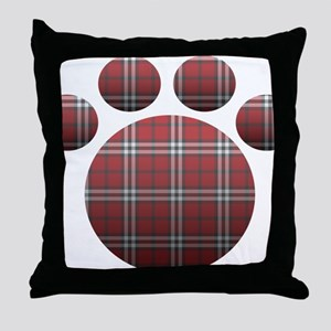Plaid Paw Throw Pillow