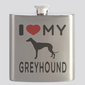 I Love My Greyhound Flask