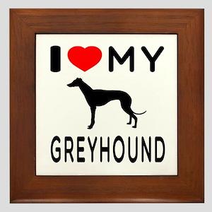 I Love My Greyhound Framed Tile