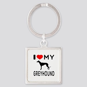I Love My Greyhound Square Keychain
