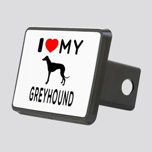 I Love My Greyhound Rectangular Hitch Cover