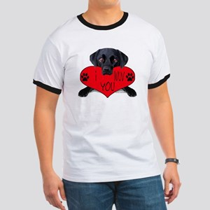 Black Lab Valentine Ringer T