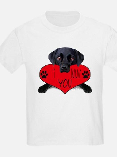 Black Lab Valentine Kids T-Shirt