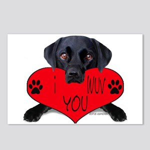 Black Lab Valentine Postcards (Package of 8)