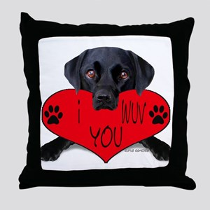 Black Lab Valentine Throw Pillow