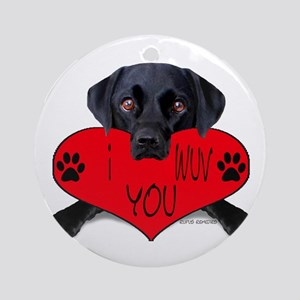 Black Lab Valentine Ornament (Round)