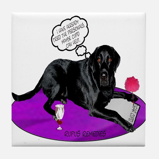 Black Lab Cupid Tile Coaster