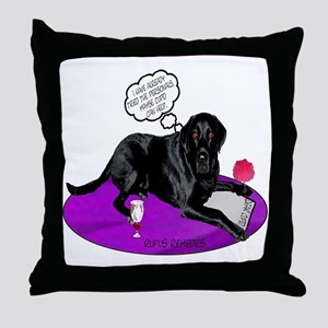 Black Lab Cupid Throw Pillow