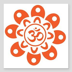 "om_flower_sticker Square Car Magnet 3"" x 3"""