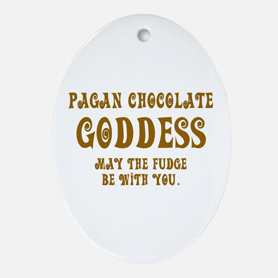 Chocolate Goddess Oval Ornament