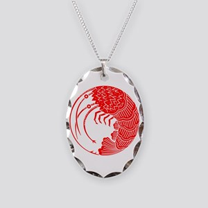 Spiny lobster circle Necklace Oval Charm