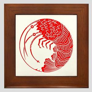 Spiny lobster circle Framed Tile