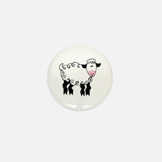 Wobbly Lamb Mini Button