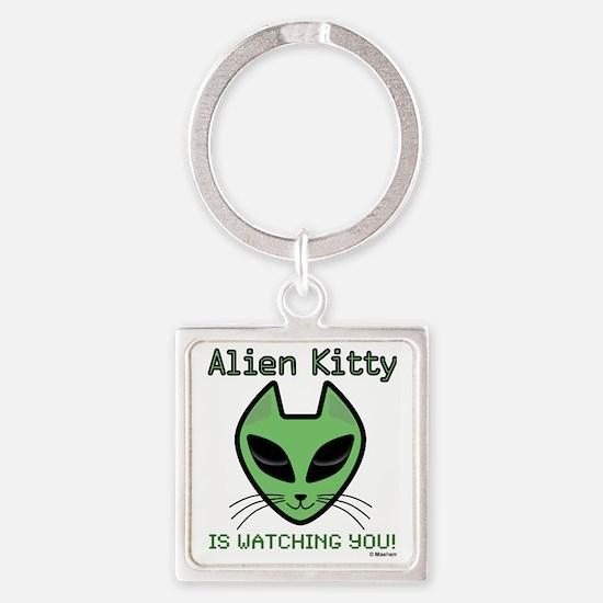2-AlienKitty-IsWatching Square Keychain