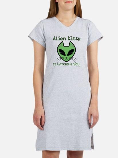 2-AlienKitty-IsWatching Women's Nightshirt