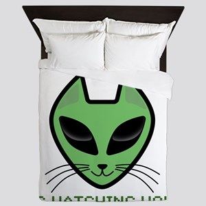 2-AlienKitty-IsWatching Queen Duvet