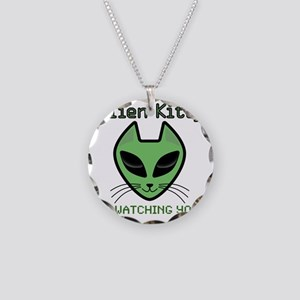 2-AlienKitty-IsWatching Necklace Circle Charm