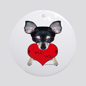 Chihuahua Valentine Ornament (Round)