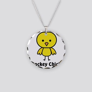 hockey chick Necklace Circle Charm