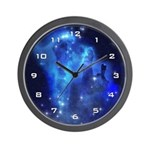 Blue Space Cloud Wall Clock