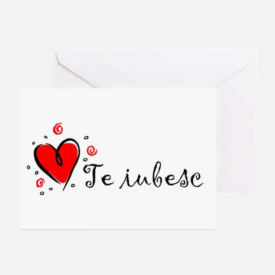 """I Love You"" [Romanian] Greeting Cards (Package of"
