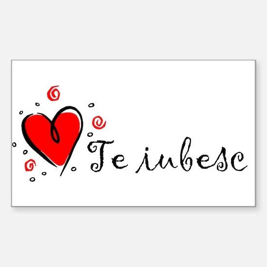 """I Love You"" [Romanian] Rectangle Decal"
